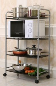 China 4-Tier Kitchen Metal Trolley Cart Easy To Move With 4 Omnidirectional Casters on sale