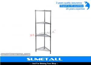 China Triangle Metal Wire Shelving Unit 4 Layer Wire Racks For Storage With Chrome Plating on sale