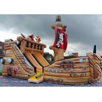 China PVC Commercial Grade Giant Pirate Ship Inflatable Dry Slide With Climbing Ladder on sale