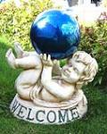 China Poly resin with Clear crystal  outdoor tier Angel  Gazing Ball Stands holder on sale