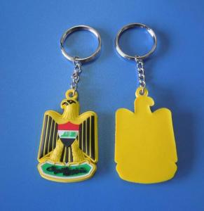 China UAE National Day Gift Yellow Eagle 3d Rubber Soft PVC Keychains / Eagle Keyrings Accept OEM on sale