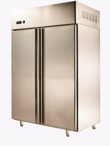 China 900L Asian Double Door Commercial Upright Refrigerator For Supermarket , 1215x800x1930 on sale