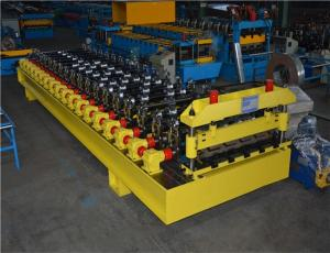 China 609mm Coil Width Corrugated Roll Forming Machine With Hydraulic Cutting Barrel on sale