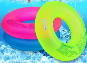 China Fluorescent Inflatable Swim Ring Comfortable 39 Inch Size With Safety Handle on sale