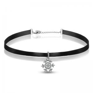 China 925 Sterling Silver Womens Leather Jewelry Choker Necklace With Snowflake Pendant on sale