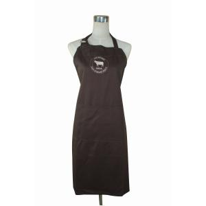 China OEM の絹の印刷の胸当てのブラウンの綿のエプロン シェフのユニフォーム 70 x 85cm on sale