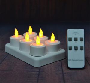 China 6Pcs LED Rechargeable Tealight Candle with Charging Base Frosted Holder with Remote Control for Christmas Wedding on sale