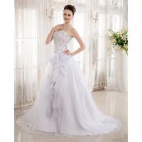 China Heart Shaped Bra Ladies Wedding Dresses , Rhinestone Beaded cathedral train wedding Gowns on sale