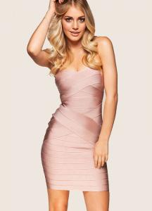 China Hot sexy nude off the shoulder above knee bandage dress on sale