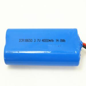 China 3.7v 1s2p Li Ion Battery Pack ICR18650 Battery 4000mah 14.8Wh With Protection on sale