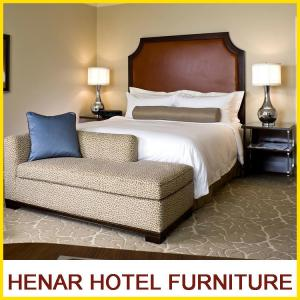 China Hampton Inn 5 Star Wooden Hotel Bedroom Furniture King size Brown Upholstered on sale