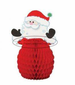 China 8 Inch Snowman Paper Christmas Decorations , Honeycomb Paper Xmas Decorations on sale