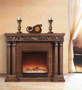 China Solid Wood Oak Decor Flame Electric Fireplace French / European / Louis style on sale