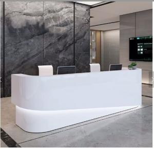 China Illuminated Led Color Changing Modern Office Reception Desk With Back Wall on sale