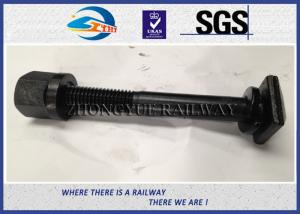 China Square Shape Railway Fastener Bolts , Nuts Matching With Washer / Coating Black on sale