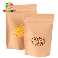 Kraft Paper Mylar Ziplock Storage Bags With Window , Tea / Coffee Bean Packaging