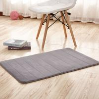 Thick Memory Foam Floor Mats , Bulky Fleece Fabric Grey Fast Drying Bath Mat