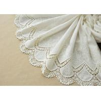 China Customized Embroidery Cotton Lace Fabric By The Yard For Dress Cloth Off White Color on sale