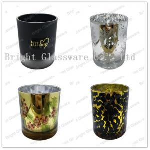 China plated glass candle holders for weddings on sale