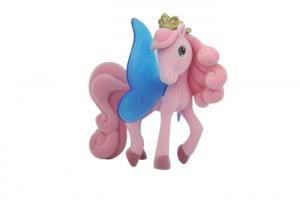 China Unique Pink Plastic Figures Toys , Flocked Pony With Butterfly Wing on sale