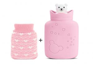 China Anti Aging Small Hot Water Bag Pink Cute Color Integral Molding Process on sale