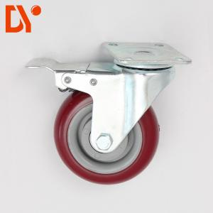China Red Color Plastic Anti Static Flat Casters Swivel Type Custom Design on sale