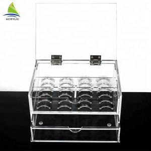 China Custom factory transparent 2 tier acrylic organizer case mink eyelash box on sale