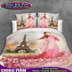 女の子のローズの花の設計純粋なポリエステル3Dは寝具セットを印刷しました
