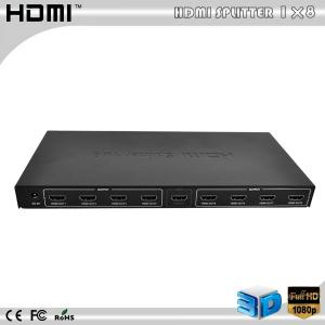 China HDMI 1x8 3D Amplified splitter v1.3 HDCP 8 ports swither PS3 XBOX360 DVD Blu-ray on sale