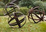 Hollow Corten Steel Lawn Ball Rusted Metal Garden Sculptures Custom Size