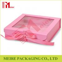 Pink color folding gift box with clear window, magnet and ribbon clousre for baby girl clothing