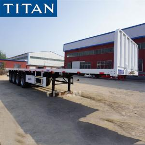 China 3 Axles 20 FT 40 FT Container Trailer Flat Bed Semi Trailer on sale