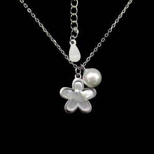 China Leaf 925 Sterling Silver Necklace , CZ 925 Italy Silver Rope Chain on sale