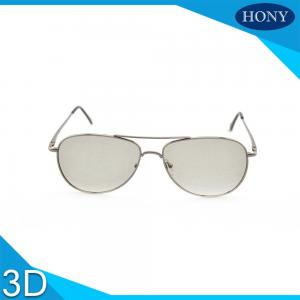 China Metal Frame Linear Polarized 3D Glasses Silver White Scratech Protective Film on sale