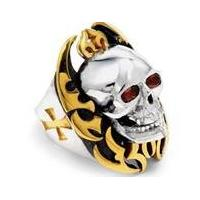 Fashion cool mens Stainless Steel Golden skull Gothic Style Ring for Gift