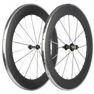 China High Profile Carbon Alloy Road Wheels 90mm * 23mm Clincher Novatec Powerway Hubs on sale