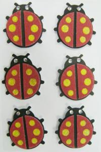 China Removable Ladybird Printable Fabric Stickers 3D Layered For Mirror Home Deco on sale