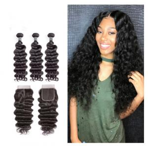 China 12 Inch Virgin Indian Human Hair Weave / Closure Deep Wave Bundles on sale