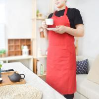 China Red/ Blue/Black Cotton Machine Washable Kitchen Apron Chef Uniform For Adult on sale