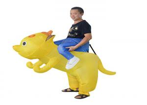 China 190T 1.8m Tellow Dog Costume Inflatable Kids Toys Role Play Kids Bouncy Toys on sale