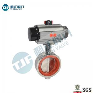 China Sanitary Stainless 316L Butterfly Valve  Wafer Type with Penumactic Actuator for Beer Manufacture on sale