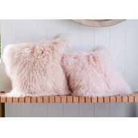 Long Wool Pink Mongolian Lamb Fur Throw Pillow 20x20 Inch For Air Condition Room