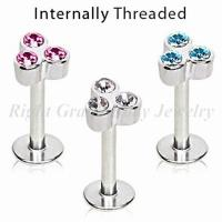 Triple Gems Threaded Labret Monroe Jewelry Lip Studs With Cubic Zirconia