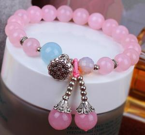 China Rose quartz beaded bracelets, lotus charm bracelets, mineral gemstone jewelry, yoga on sale