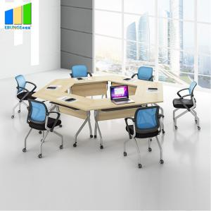 China Ebunge School Furniture Wooden Stackable Office Conference Folding Tables on sale
