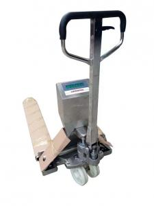 China 1500 kg Hand Digital Narrow Pallet Jack , Stainless Steel Pallet Jack With Weigh Scale on sale