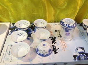 China Graceful hollow Lithe and pierced wonderful engraving tea sets blue and white porcelain on sale