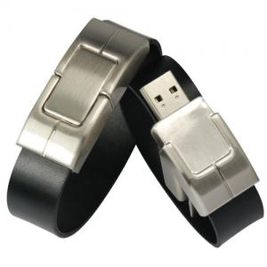China OEM leather bracelet USB flash drive 1GB 2GB 4GB 8GB 16GB 32GB with  embossed or printing logo on sale