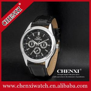 China 2015 Fashion Jewelry Quartz Watches Men Black White China Supplier Top Quality Genuine Leather Watches Man on sale