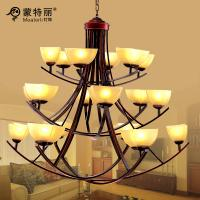 China Cream Shade Downwards Wrought Iron Chandelier 3 Layers 18 Heads For Villas on sale